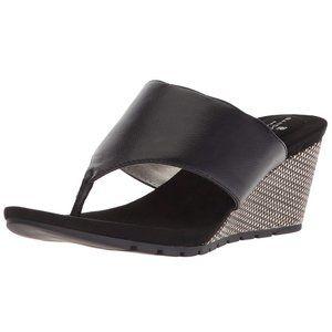 BANDOLINO Sarita Slide Wedge Sandals Black SZ 6